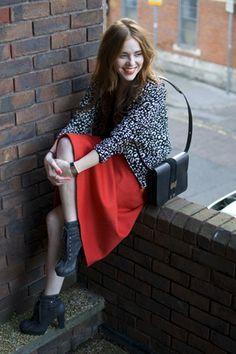 Red, midi, bomber jacket, street style, fashion