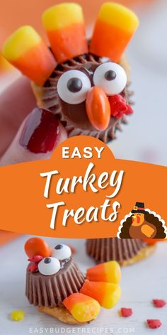 These Pretzel Turkey Treats are easy to make and just darling! They're a fun way to keep the kids busy during Thanksgiving dinner. Follow Easy Budget Recipes for more Thanksgiving desserts!