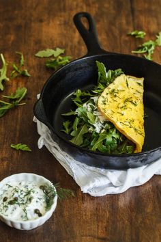 Smoked salmon transformed my humble omelette into something rich and elegant. I added lots of flavor with matching ingredients like dill and capers and I spiced this Smoked Salmon Omelette up with peppery arugula.