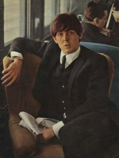 Paul on the train to Washington D.C. for The Beatles first concert in America, February 11, 1964.