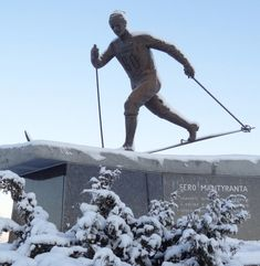 Statue of skier and Olympic champion Eero Mäntyranta in the centre of Pello in Lapland