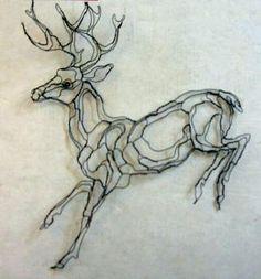 2D mule Deer wire sculpture by Elizabeth Berrien.