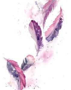 Purple Feathers Painting ORIGINAL Watercolor Painting
