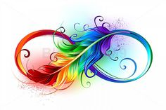 Artistically drawn infinity symbol with beautiful rainbow feather on white backg. - Artistically drawn infinity symbol with beautiful rainbow feather on white background. Feather Drawing, Feather Tattoo Design, Feather Art, Feather Tattoos, Peacock Feather Tattoo, Tattoo Drawings, Body Art Tattoos, Art Drawings, Moon Tattoos