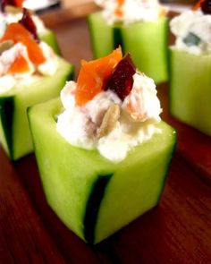 Stuffed Cucumbers with smoked salmon and goat cheese | cynthia reccord