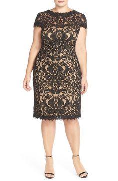 Tadashi Shoji Cap Sleeve Lace Sheath Dress (Plus Size) available at #Nordstrom