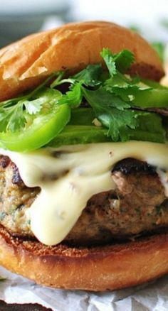 Queso Turkey Burgers Cooking Recipes, Healthy Recipes, What's Cooking, Cooking Ideas, Healthy Meals, Good Burger, Tasty Burger, Amazing Burger, Turkey Burgers