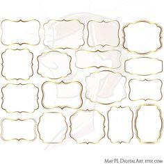 Digital Frames Gold Borders DIY Labels Tags por MayPLDigitalArt, $5.70