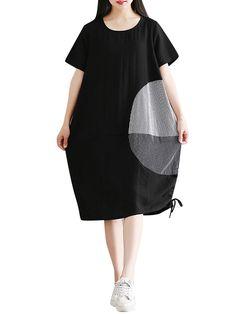 Loose Striped Printed Short Sleeve Hem Drawstring Women DressLoose Striped Printed Short Sleeve Hem Drawstring Women Dress