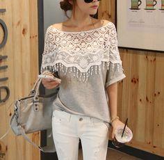 XR14011401 US$ 11.56 http://www.mujeres-jersey.com/goods-2245018-blusa-de-estilo-elegante-decorado-encaje-de-color-gris-se-vende-bien.html