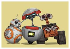 Cute robots :) BB-8 from Star Wars: The Force Awakens plus Gortys from Tales from the Borderlands and Wall-E from his own movie.