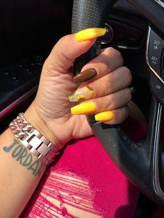 Coffin yellow flower design brown nails long medium multi color
