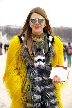 Anna Dello Russo in Yellow fur coat ~ excited for @hm collaboration?