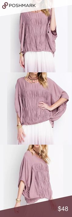 NWT crinkle top Ladies Oversized and comfy. Dolman sleeve.  Crinkled detail.  Mauve color is a perfect top! Tops Blouses