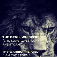 "The devil whispers ""you can't withstand the storm"". The warrior replied ""I am the storm"". - Best #motivational and #inspirational #quotes of all time - #Medicalinstitution"