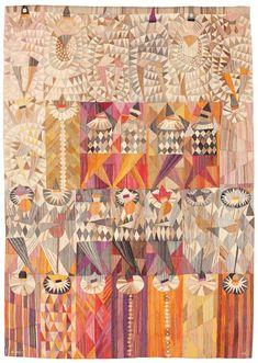 "Handwoven tapestry from MMF AB -- ""Karneval"". Pattern designed in By Märta Måås-Fjetterström, Marianne Richter __ photo by Bukowski's (auction site). Textiles, Textile Patterns, Loom Patterns, Textile Fiber Art, Art Graphique, Tapestry Weaving, Art Plastique, Fabric Art, Pattern Design"