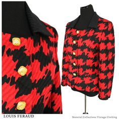 Vintage abstract blazer • LOUIS FERAUD • women's clothing • couture • black • red • preppy • high fashion • business • modern • retro