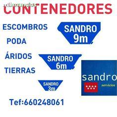 . Servicio de contenedores de obra de 3-6-9 en toda la comunidad de Madrid,para escombros limpieza de naves tambien servimos arena,miga, gravilla, revuelto.  Contamos con sacas de un metro