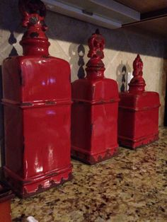3 Decorative Kitchen Canisters Red | eBay