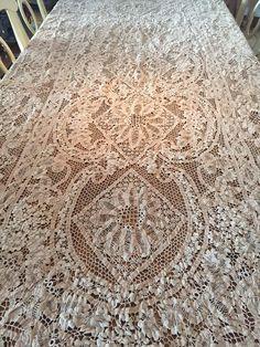 """Lavish Antique Italian Lace Tablecloth, Point de Venise, Banquet Size, 136"""" by 60"""""""