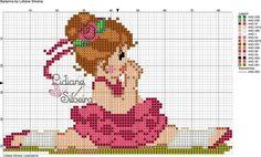 Infantil - menina - bailarina Cute Cross Stitch, Cross Stitch Charts, Cross Stitch Designs, Cross Stitch Patterns, Baby Sweater Knitting Pattern, Baby Sweaters, Hama Beads, Cross Stitching, Beading Patterns