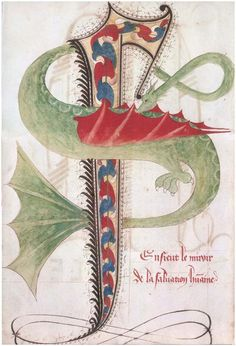"""""""I accepted a challenge from to post 7 decorated initials I love: 1 initial/day for 1 week. Day * Decorated initial S. Minute for Le Miroir de la Salvation humaine. Medieval Dragon, Medieval Life, Medieval Art, Illuminated Letters, Illuminated Manuscript, Dragons, Celtic Patterns, Book Of Kells, Medieval Manuscript"""