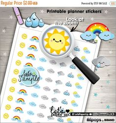 60%OFF - Weather Stickers, Printable Planner Stickers, Weather Icon, Erin Condren, Kawaii Stickers, Tracking Weather, Planner Accessories