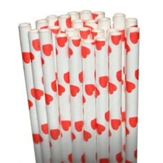 Hearts Red Paper Party Straws