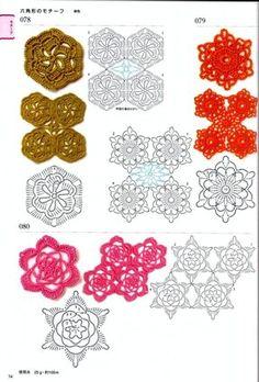 Crochet Motifs Edging Patterns 300 Japanese by JapanLovelyCrafts Crochet Doily Diagram, Crochet Chart, Crochet Motif, Crochet Leaves, Crochet Snowflakes, Crochet Flowers, Japanese Crochet Patterns, Crochet Edging Patterns, Crochet Quilt