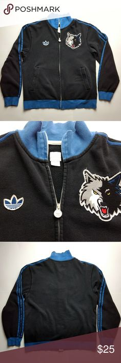 Adidas NBA Minnesota Timberwolves Jacket Large Men's Adidas NBA Minnesota Timberwolves Full Zip Jacket Sweatshirt Warmup 2012. Good pre-owned condition; some pilling and wear around the logos (see pictures), but it gives it that vintage look. No rips, tears, or stains. 80% cotton, 20% polyester. Size Large.   Please look closely at all pictures before purchasing. Pictures have approximate measurements. Message me if you have any questions or shoot me an offer. Thanks for looking! adidas…