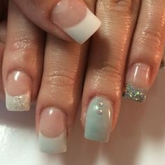 Hand sculpted acrylic nails , grey full nail , sparkle