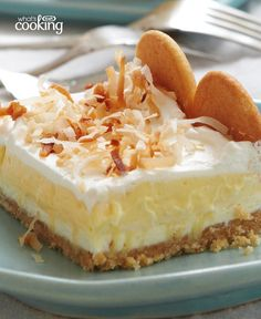 Layered Coconut Cream Cheesecake Bars #recipe