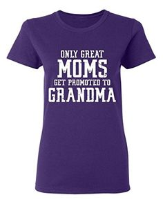 P&B Only Great Mom Get Promoted to Grandma Women's T-shirt, 2XL, Purple P&B