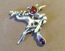 """Sterling Silver 1952 Sam Kramer """"Trumpeter"""" Brooch"""