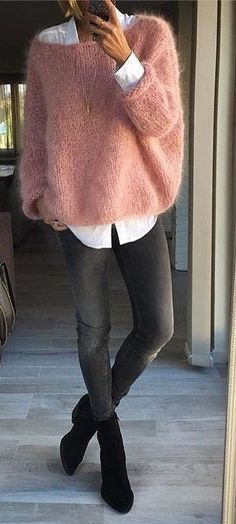 Pink Wool Knit Black Skinny Jeans. Love the button down and shoes too Supernatural Style