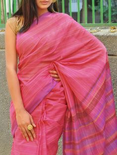 Pink Saree with Stripes