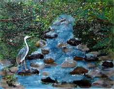 "We created this custom fused glass art work for our client in New Jersey.  The dimensions are 20"" x 24"" and features a mountain brook with great blue heron.  It is installed as a feature piece in o..."