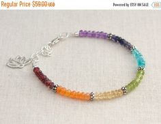 Close Out Sale Sterling Silver Lotus Charm Chakra bracelet