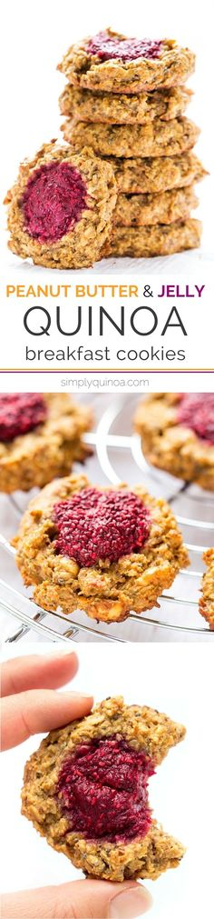 These QUINOA breakfast cookies are absolute perfection! A chewy peanut butter cookie base topped with healthy raspberry chia jam. [gluten-free + vegan]