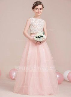 4d41cf62c81c A-Line Princess Scoop Neck Floor-Length Beading Zipper Up Regular Straps  Sleeveless No Pearl Pink General Tulle Junior Bridesmaid Dress CLICK Visit  link ...