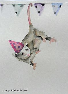PRISCILLA POSSUM WAS ALWAYS THE LIFE OF THE PARTY'.  Baby Opossum painting original nursery watercolor art by 4WitsEnd, via Etsy  SOLD
