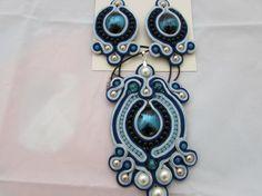 Blue-black effective set (earrings and necklace) very light soutache