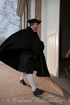 Patrick Henry entering the Courthouse in Colonial Williamsburg's Historic Area. Williamsburg, Virginia.