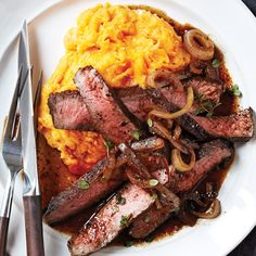 The balsamic-glazed sirloin will pair well with the sweet potatoes, which have high levels of beta-carotene, a nutrient-rich carotenoid.