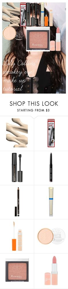 """Lily Collins smokey eye make up tutorial"" by oroartye-1 on Polyvore featuring beauty, Versace, Chanel, Rimmel, Maybelline, Bobbi Brown Cosmetics and Max Factor"
