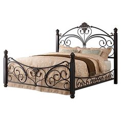 Alysa Metal King Bed with Decorative Side Rails