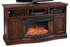 Fireplace units by toscana entertainment wall units fireplace credenza. Entertainment Wall Units, Entertainment Center Kitchen, Entertainment Furniture, Fireplace Tv Stand, Fireplace Wall, Tv Stand Brown, Tv Decor, Acanthus, Credenza