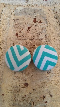 White and Light Blue Fabric Button Earrings by LaVieBelle on Etsy, $5.00