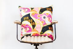 bright printed silk pillow cover Retro Silk Cushion Cover LARGE Psychadellic Print by MayBrady, $75.00 #pillow #decor