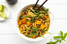 5. Healthy Vegan Butternut Squash Pho With Lime and Basil